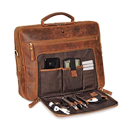 Donbolso® Leder Laptoptasche San Francisco 15,6 Zoll Umhängetasche für Damen und Herren