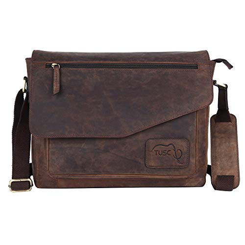 Tusc Triton Braun Leder Laptoptasche verschiedene Größen und Farben - 13,3 bis 17 Zoll